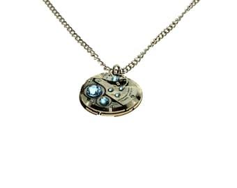 Steampunk Necklace Clockwork With Beautiful Sky Blue Swarovski Crystals