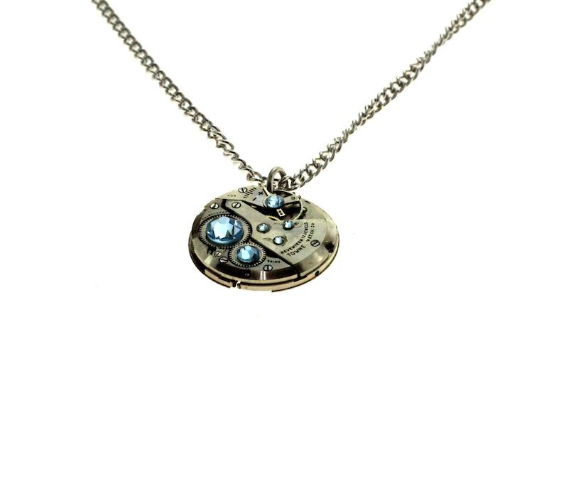Steampunk Necklace Clockwork With Beautiful Sky Blue Swarovski image 1
