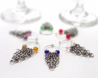 Wine Glass Charms Chainmaille With Glass Beads