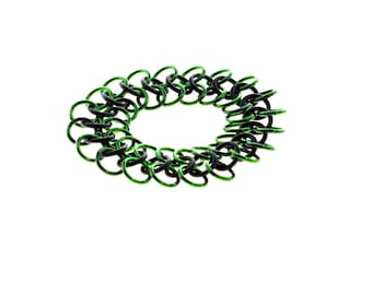 Stretchy Chainmail Bracelet With Black Neoprene And Green Anodized Aluminum