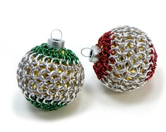 Christmas Tree Ornaments Red And Green Chainmaille Covered Glass