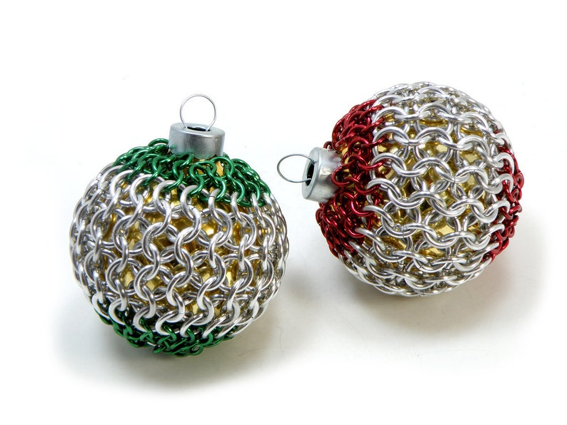 Christmas Tree Ornaments Red And Green Chainmaille Covered image 0