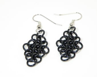 Gothic Black Earrings Handmade Chainmaille