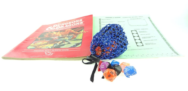 Blue Dice Bag Chainmail Made From Anodized Aluminum image 0