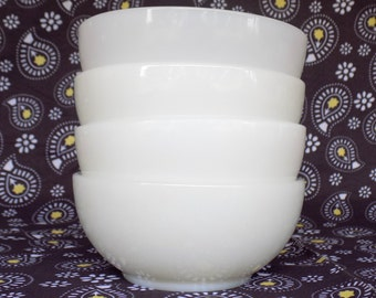 Fire King Restaurant Ware Cereal Bowls, Set of 4, Milk White Mid Century, Chili or Soup Bowls, Happy Home