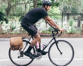 Commuter Pannier, waxed canvas bicycle bag