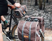 Raid panniers, rear touring panniers, waxed canvas bicycle bag