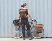 Convertible backpack pannier, waxed canvas bicycle bag