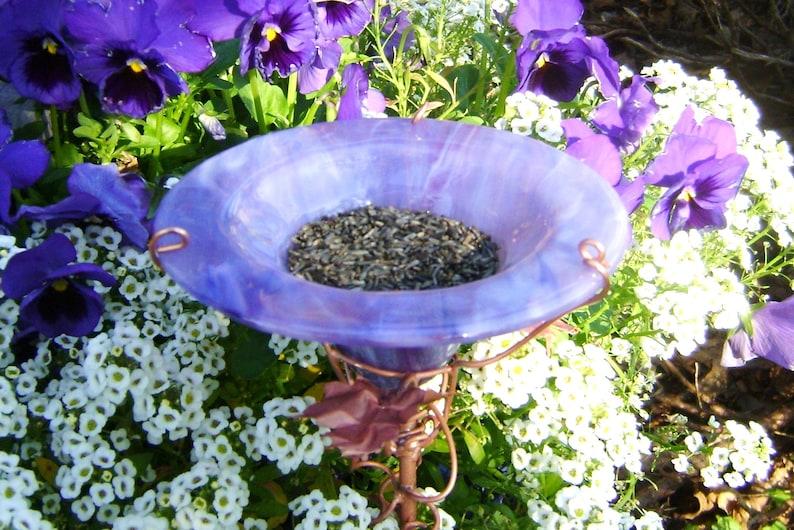 Outdoor Decor Copper Garden stained glass Purple Garden Decor THANK YOU Gift BUTTERFLY and Bird Feeder Lavender copper art