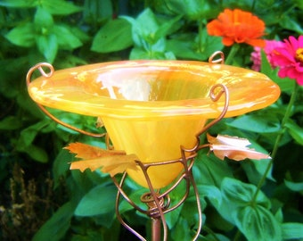 Feed your Flying Friends!  Yellow-Orange stained Glass, copper accents,  BIRD and BUTTERFLY FEEDER, Container Gardening
