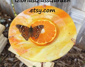 Orange and Yellow, stained glass, BIRD FEEDER and Suncatcher, Outdoor Garden Decor, stained glass, copper garden art