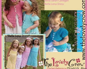 Crochet Pattern Cardigan Dress for Girls BELLA BUNDLE