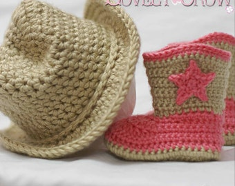 Cowboy  Crochet Patterns. Includes patterns for Boot Scoot'n Boots and Boot Scoot'n Cowboy Hat digital