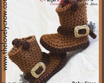 Crochet Pattern Baby Sizes Cowboy Boots