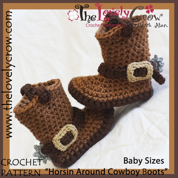 Crochet Pattern Baby Sizes Cowboy Boots Etsy