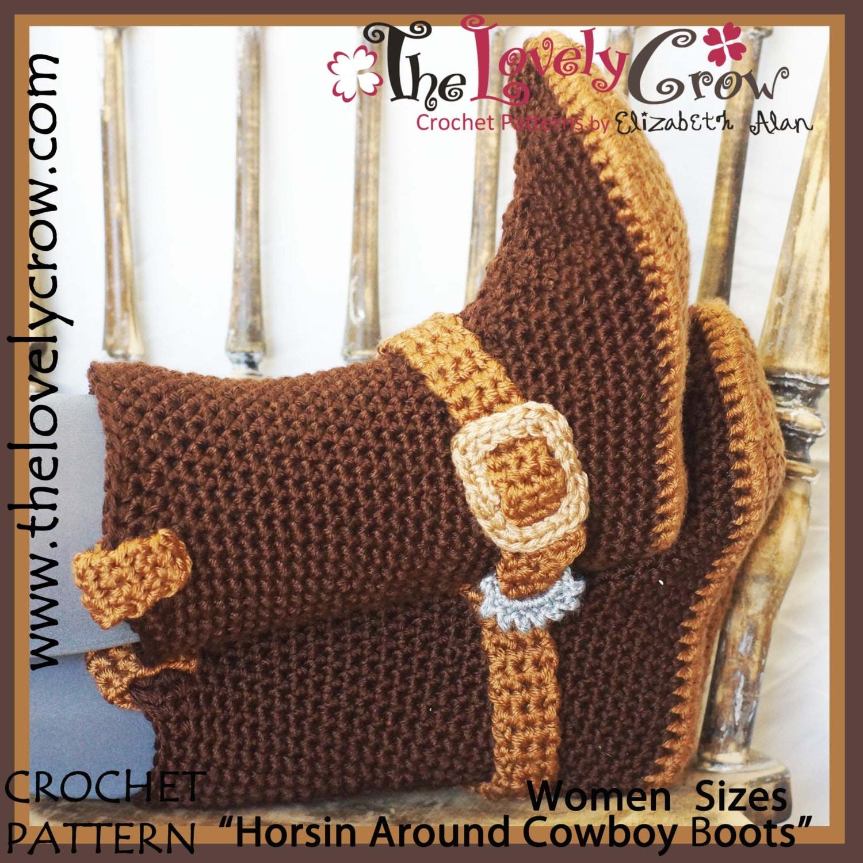 Crochet Pattern Adult Sizes Cowboy Boots Etsy