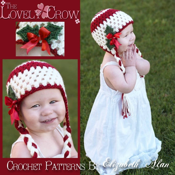 Christmas Hat Crochet Pattern For Holly Earflap Beanie Digital Etsy
