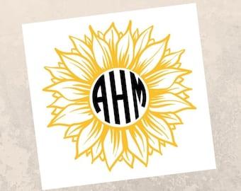 MGM788 Sunflower Monogram Vinyl Die Cut Decal Sticker for Car Laptop etc