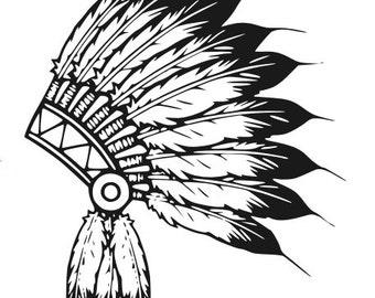 1f02644df6a8c Indian Headdress Decal, Headdress Decal, Feather Headdress Sticker, Feather  Decal, Vinyl Decal, Car Decal, Yeti Decal, Wall Decal, Decal
