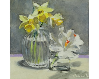 Daffodils and Crocus, Spring Bouquet