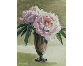 Peonies Silver Vase