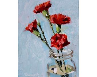Four Carnations Glass Jar