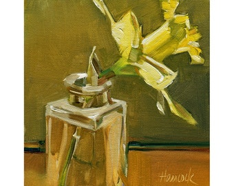 Single Daffodil on Gold and Green