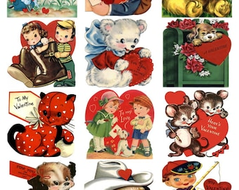 A Dozen Child Children Valentines v3, CUTE KITTENS PUPPIES  Vintage Image Collage Sheet, Hearts, Digital Download jpg by Swing Shift Designs