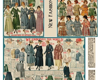 Collage Sheet  of Vintage Images from a 1915 Catalog, Women's and Children's Clothing, Digital Download JPG File by  Swing Shift Designs