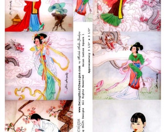 Asian Ladies Square V1 Collage Sheet, Vintage Illustrations of Beautiful Asian Women - Digital Download JPG File by Swing Shift Designs
