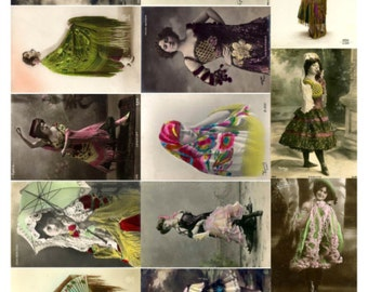 Beauties V2 Collage Sheet , Vintage Photos of Women, Spanish, Elaborate Clothing - Digital Download JPG File by Swing Shift Designs