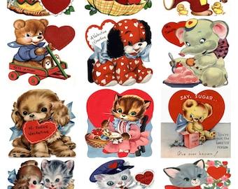 A Dozen Child Children Valentines V2 - CUTE  BIRDS Vintage Image Collage Sheet, Hearts, Digital Download JPG file by Swing Shift Designs