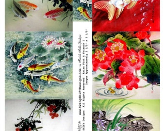 """Asian Fish & Friends 3 1/2"""" Squares Collage Sheet, Assorted Vintage Asian Themed Images - Digital Download JPG File by Swing Shift Designs"""