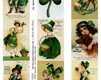 St Patrick's Day Collage Sheet V2, Vivid Full Color, Green, Clover - Digital Download JPG file by Swing Shift Designs  Listing Stats