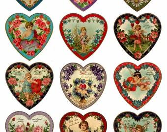 Valentine's Hearts V2 Collage Sheet, Vivid, Full Color, Love, Wedding, Engagement, Hearts - Digital Download JPG file by Swing Shift Designs