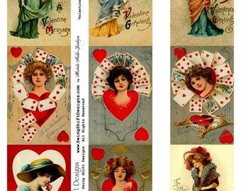 Valentine's Ladies Collage Sheet V2, Love, Playing Cards, Poker, Queen, Hearts, Women - Digital Download JPG file by Swing Shift Designs