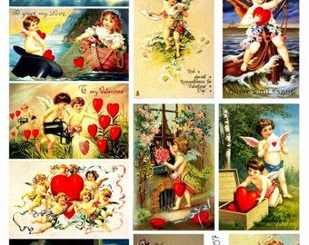 Valentine's Collage Sheet of Vintage Post Cards, Full Color, Love, Wedding, Illustration, Hearts - Digital Download JPG, Swing Shift Designs
