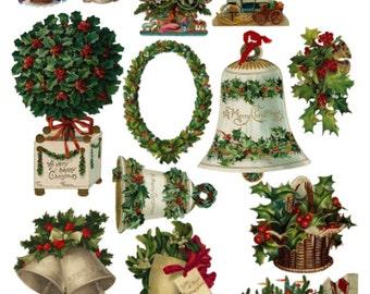 Christmas Clip Art Clipart V1, Collage Sheet, Holiday Vintage Illustrations - Digital Download JPG File by Swing Shift Designs