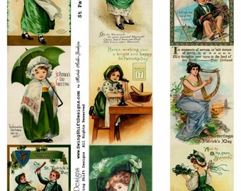 St Patrick's Day Collage Sheet V3, Vivid Full Color, Green, Clover - Digital Download JPG file by Swing Shift Designs  Listing Stats
