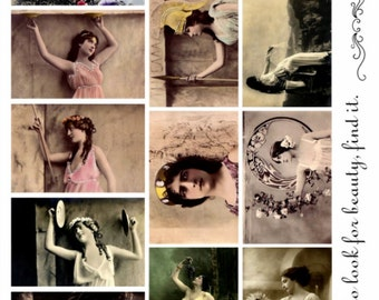 Greco Roman Beauties V1 - Women Collage Sheet, Vintage Photos, Digital Download JPG file by Swing Shift Designs