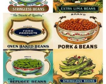 Bean Vegetable Can Crate Labels Collage Sheet, Vintage Illustrations - Digital Download JPG File by Swing Shift Designs