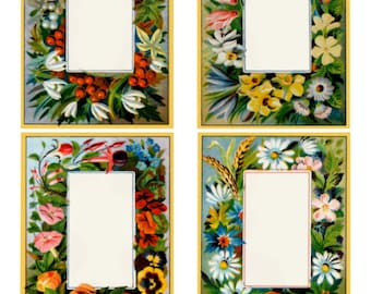 The Seasons Frames Collage Sheet, 2 Pgs 1 Blank & 1 w/ Poetry/Text, Vintage Illustrations Flowers - Digital Download JPG Swing Shift Designs