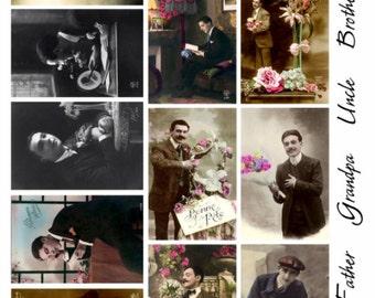 Gentlemen V1 - Men's Collage Sheet, Vintage Photos, Digital Download JPG file by Swing Shift Designs
