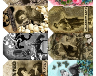 Cowgirl Tags V1 Collage Sheet, Beautiful Vivid, Full Color, Vintage Photos - Altered Art, Digital Download JPG File by Swing Shift Designs