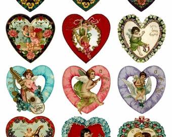 Valentine's Hearts V3 Collage Sheet, Love, Wedding, Engagement, Hearts - Digital Download JPG file by Swing Shift Designs