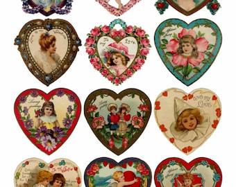 Valentine's Hearts V1 Collage Sheet, Vivid, Full Color, Love, Wedding, Engagement, Hearts - Digital Download JPG file by Swing Shift Designs
