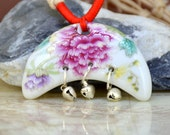 Unique Mixcolor Moon Peach Rose Flower Chinese handmade painted porcelain Pendant , Moon Large 54mmx22mm Handmade Bead ,Love Wedding Jewelry