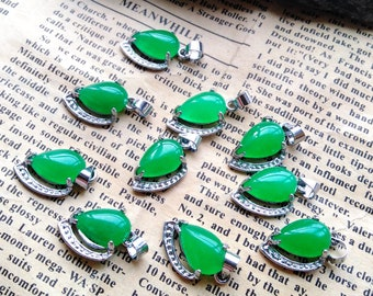 4pcs 8-13mm Large Hole Lovable peach pink Emerald dark green jade stone,drum barrel rice spacer connector pendant focal jewelry