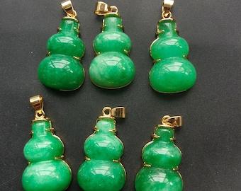 Gourd Flower cheongsam pendant Amulet Talisman hand pendant gemstone bead Natural Nephrite Jade stone,Carved Untreated green jade pendant