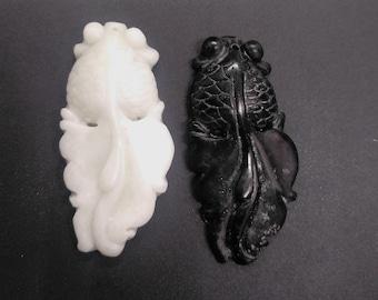 Vintage carved Jade Eagle and Fish Pendant.